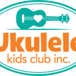 Logo graphic has an oval border with the words Ukulele Kids Club Inc. and a clipart ukulele
